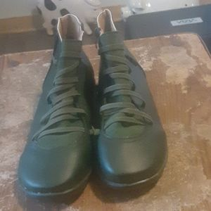 Green leather boots